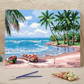数字塗り絵 油絵風 ビーチとヤシの木 海辺 大人の塗り絵 フレーム絵画 インテリア 風景 DIY 趣味 ぬり絵 ホビー ナンバーピクチャー
