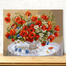 数字塗り絵 油絵風 赤い花 静止画 大人の塗り絵 フレーム絵画 インテリア 風景 DIY 趣味 ぬり絵 ホビー ナンバーピクチャー
