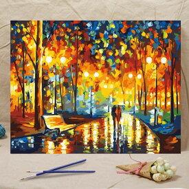 数字塗り絵 油絵風 雨の公園 散歩道 大人の塗り絵 フレーム絵画 インテリア 風景 DIY 趣味 ぬり絵 ホビー ナンバーピクチャー