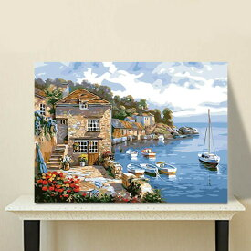 数字塗り絵 油絵風 ヨーロッパ 海辺の村 大人の塗り絵 フレーム絵画 インテリア 風景 DIY 趣味 ぬり絵 ホビー ナンバーピクチャー