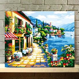 数字塗り絵 油絵風 海辺のカフェ店 ヨーロッパの街 大人の塗り絵 フレーム絵画 インテリア 風景 DIY 趣味 ぬり絵 ホビー ナンバーピクチャー
