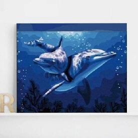 数字塗り絵 油絵風 イルカ いるか 海 大人の塗り絵 フレーム絵画 インテリア 風景 DIY 趣味 ぬり絵 ホビー ナンバーピクチャー