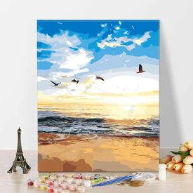 数字塗り絵 油絵風 夜明けの海 ビーチ 砂浜 カモメ フレーム絵画 インテリア 風景 DIY 趣味 ぬり絵 ホビー ナンバーピクチャー