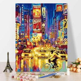 数字塗り絵 油絵風 NY ニューヨーク タイムズスクエア 夜景 フレーム絵画 インテリア 風景 DIY 趣味 ぬり絵 ホビー ナンバーピクチャー
