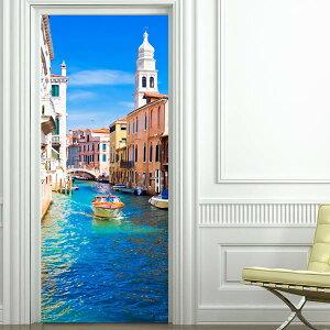 ドアステッカー トリックアート ヴェネチア 水の都 イタリア 海 だまし絵シール インテリア DIY