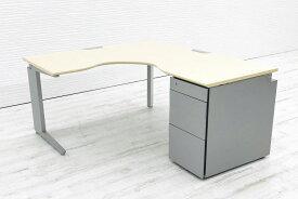 オカムラ L型デスク L字デスク 1400mm×1600mm L字机 片袖机 中古デスク 3段ワゴン付 片袖デスク オフィスデスク ワゴン付 右ワゴン