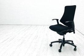 イトーキ エフチェア 中古オフィスチェア クッション 可動肘 ブラック 事務椅子 ITOKI 中古オフィス家具