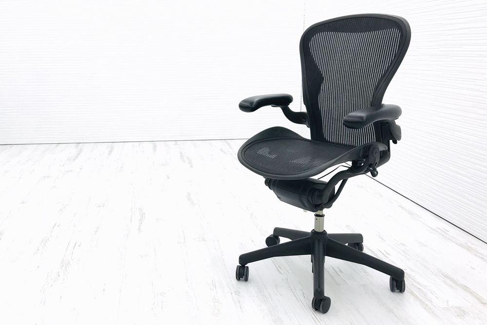 アーロンチェア 中古 ハーマンミラー Bサイズ フル装備 (ランバー無) オフィスチェア 中古オフィス家具 肘ダイヤルタイプ