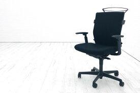 オカムラ エスクードチェア 中古 エスクード 事務椅子 オフィスチェア ブラック 中古オフィス家具 OKAMURA 可動肘 ハイバック