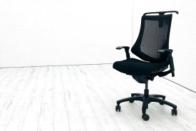 イトーキ エフチェア 2016年製 中古オフィスチェア クッション 可動肘 ブラック 事務椅子 ITOKI 中古オフィス家具 KF-377JAHT1T1T2