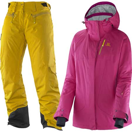 10%OFFクーポン発行中!11/22まで [送料無料] スキーウェア14-15 レディース サロモン SALOMONZERO JACKET W+ZERO PANT Wカラー:PINK+YE[pd装_snowwear] [50_off] [SP_SKI_WEAR]