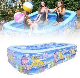 子供用プール 3気室 家庭用プール 長方形 ビニールプール 子供プール 深い ベランダ おもちゃゲームプール ジャンボプール 厚く 室内室外 暑さ対策 水遊びに大活躍 多人に適用 1.55M