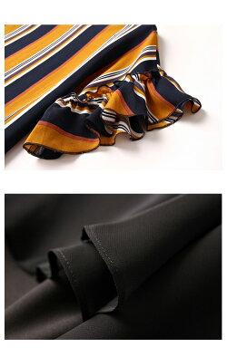ラッフルブラウス&ミニスカートセットアップ柄物ストライプ柄ミニスカート半袖セットアップブラックマスタードゆるブラウスラウンドネック夏秋大きいサイズ