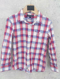 ◇ TOMMY HILFIGER トミーヒルフィガー キッズ 子供服 長袖 チェック シャツ 122 レッド ブルー # ◆ 1000027937005 【中古】