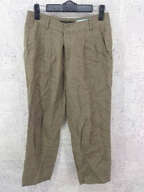 ◇ green label relaxing UNITED ARROWS リネン100% パンツ 36 カーキ * ◆ 1000279600979 【中古】