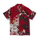 アロハシャツ <蔦と菊牡丹/濃赤> 【Pagong】 和柄 アロハ 京友禅 メンズ シルク100%