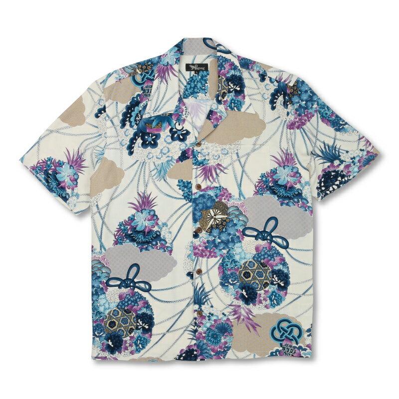 レーヨンアロハシャツ <薬玉/白紺> 【Pagong】 和柄 アロハ 京友禅 メンズ レーヨン100%