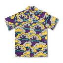 アロハシャツ <老松/紫> 【Pagong】 パゴン アロハ 和柄 京友禅 シルク100%