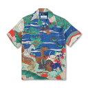 シルクアロハシャツ <鳥獣花木図屏風/青> 【Pagong】 和柄 アロハ 京友禅 メンズ ミュージアムコレクション 出光美…