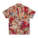 アロハシャツ <御所車/赤> 【Pagong】 パゴン アロハ 和柄 京友禅 シルク100%