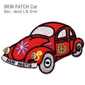 ワッペン 車(くるま) 赤色 大きいサイズ 最大横幅9.0cm前後 《刺繍ワッペン アイロンワッペン 乗り物ワッペン》