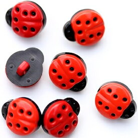 プラスチック製手芸ボタン てんとう虫 高さ15mm前後
