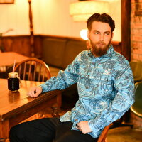 ドラゴンボール30周年記念シャツアロハシャツメンズ(男性用)「HappinessKAMEHOUSE」全1色長袖3L大きいサイズあり沖縄結婚式にアロハシャツ
