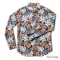 アロハシャツメンズ(男性用)「DancingMonstera」全4色長袖XL大きいサイズあり沖縄結婚式にアロハシャツ