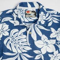 アロハポロシャツメンズ(男性用)「HibiscusJungleLight」長袖沖縄結婚式にアロハシャツ