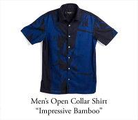 アロハシャツメンズ(男性用)「ImpressiveBamboo」琉球藍染半袖沖縄結婚式にアロハシャツ