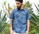 アロハシャツメンズ(男性用)「Junglistblue」全4色半袖3L大きいサイズあり沖縄結婚式にアロハシャツ