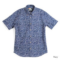 アロハシャツメンズ(男性用)「BlueFlowers」全3色半袖3L大きいサイズあり沖縄結婚式にアロハシャツ
