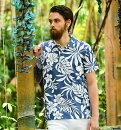アロハポロシャツメンズ(男性用)「HibiscusJungleLight」半袖沖縄結婚式にアロハシャツ