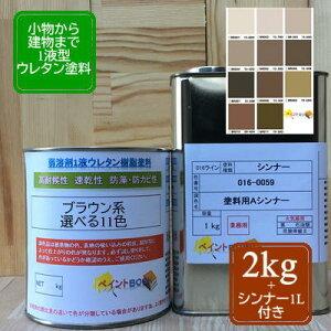 【シンナー1L付き】ウレタン塗料【2kg】ブラウン 茶色 DIY 建物 木 鉄 塗装 ペンキ 日塗工