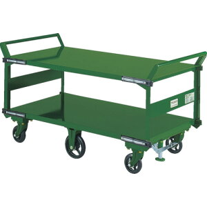 TRUSCO 鋼鉄製運搬車 両袖2段型 1400X750 鋳物6輪車 S付(SOHN1L2WS)