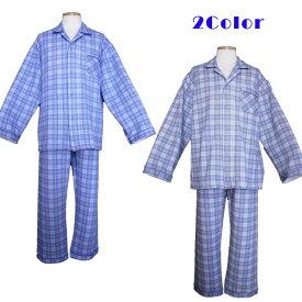 【大きいサイズ】【日本製】メンズパジャマ/綿混・ニットキルト・チェック柄・長袖・キングサイズパジャマ(3L,,4L)