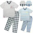 《春・夏》半袖メンズパジャマ Tシャツ + 綿100%チェックパンツセット 選べる2カラー×M・L・LLサイズ