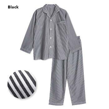 【綿100%】春・夏長袖メンズパジャマストライプブルー/ブラック/サックスM/L/LL先染め前開きシャツタイプおそろいSTANDARD