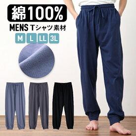 【メール便なら 送料無料 】綿100% メンズ ルームパンツ パジャマ 春 夏 柔らかく軽い薄手の快適Tシャツ素材 グレー/ネイビー M/L/LL/3L