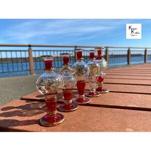 ハーバリウム ファンシー エジプトガラス クレオパトラボトル「レッド」瓶 ボトル 香水瓶 香水ボトル おしゃれ かわいい エジプシャングラス エジプト プレゼント クリスマス 母の日 オイ