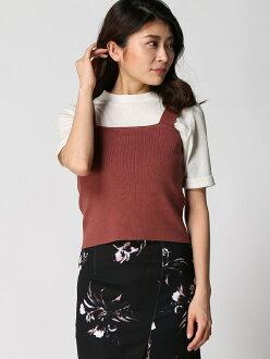 [Rakuten Fashion]콤팩트 니트 뷔스티에 Delyle NOIR 펄 그룹 아울렛 니트 니트 그 외 브라운 레드 화이트