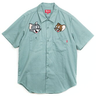 Supreme / Supreme Tom Jerry Work Shirt / Tom & Jerry work shirt Pale Green / Green 2016 AW FW domestic genuine tagged Nos new old stock