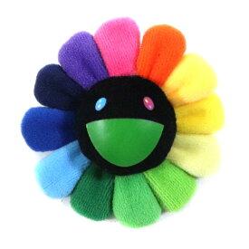 村上隆/ TAKASHI MURAKAMI Flower Keychain Badge /フラワー キーチェーン バッジRainbow & Black / レインボー ブラック 黒 8cmサイズKaikai Kiki 2018AW 国内正規品 新古品【中古】