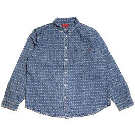 Supreme / シュプリームJacquard Logos Denim Shirt/ ジャカード ロゴ デニム シャツBLUE / ブルー 青2020SS 国内正規品 新古品【中古】