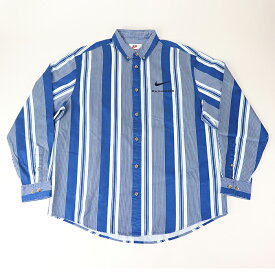 Supreme Nike Cotton Twill Shirt Blue Stripe /シュプリーム ナイキ コットン ツイル シャツ ブルー ストライプ 青2021SS 国内正規品 新古品【中古】