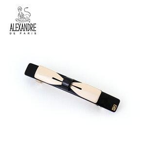 【並行輸入品】 アレクサンドル ドゥ パリ ALEXANDRE DE PARIS リボン バレッタ AA8-17532-05 ブランド ベージュ ブラック 黒 おしゃれ 可愛い かわいい ヘアアクセ ヘアアクセサリー 髪留め ヘアクリ