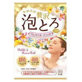 牛乳石鹸 お湯物語 贅沢泡とろ 入浴料 プルメリアガーデン 30g (16個までネコポス可)