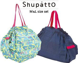 Shupatto 슈팟트콘파크트밧그 M&L사이즈 세트 S419 S411 마나에코밧그쇼핑 가방 편리 가방 레지 바구니 가방 레지봉투 접는 휴대 큰 사이즈 대용량 멋 MARNA 잡화 편리 상품