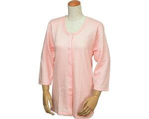 キルト八分袖前開きシャツ(ワンタッチテープ式) ピーチ 婦人用 W461 ウエルインナー レディース 婦人用 肌着 吸湿発熱加工 あったかい 女性用 高齢者 介護 肌着 介護用品