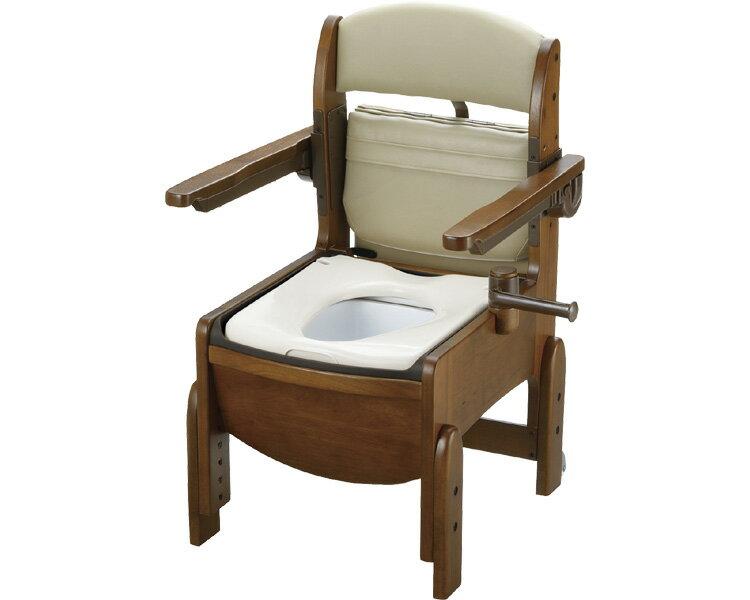 木製トイレ きらくコンパクト 肘掛跳ね上げ 18550 普通便座 リッチェル家具調トイレ 木製 ポータブルトイレ 介護 高齢者 福祉用具 排泄関連 トイレ 介護用品